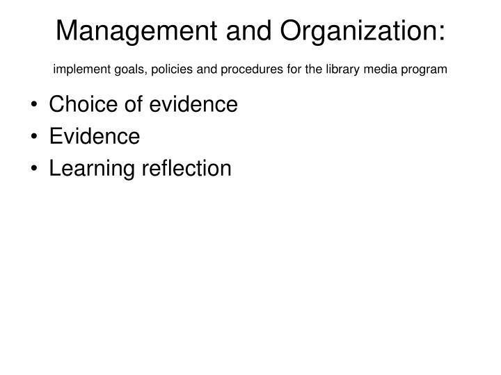 Management and Organization: