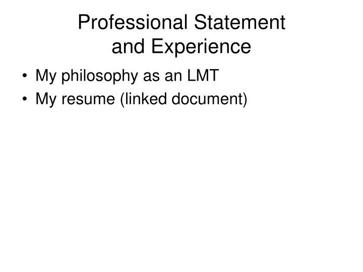 Professional Statement