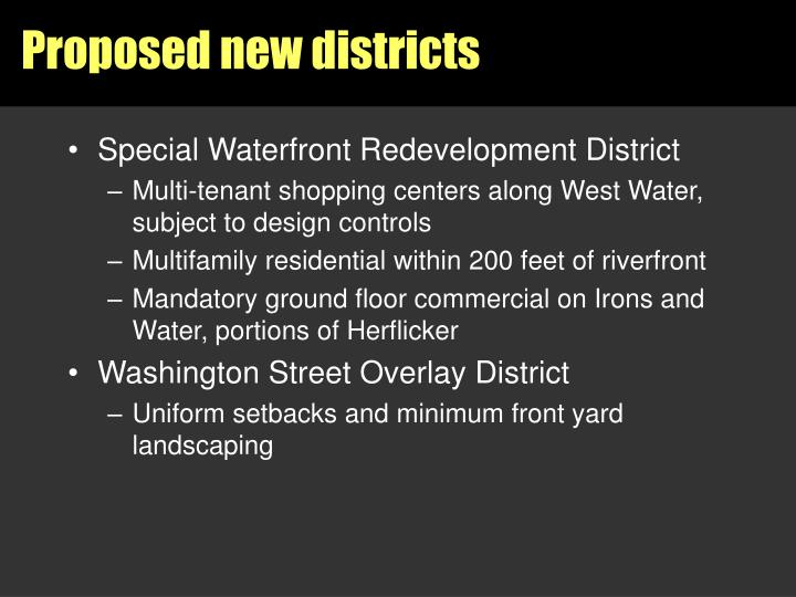 Proposed new districts