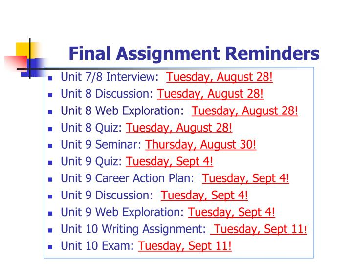 Final Assignment Reminders