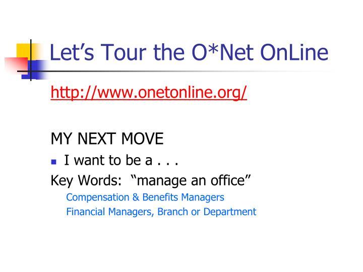 Let's Tour the O*Net OnLine