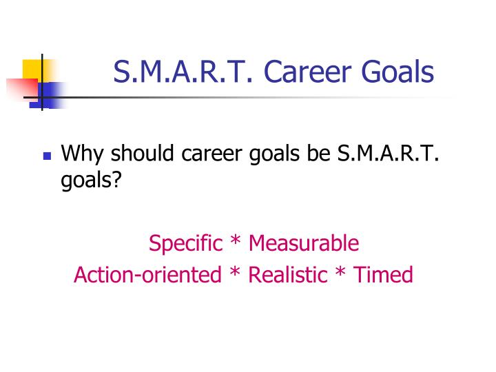 S.M.A.R.T. Career Goals