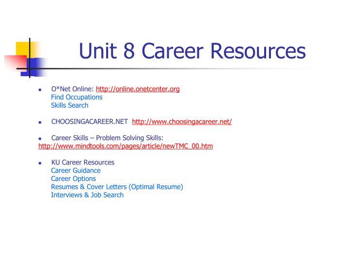 Unit 8 Career Resources