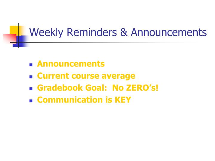 Weekly reminders announcements