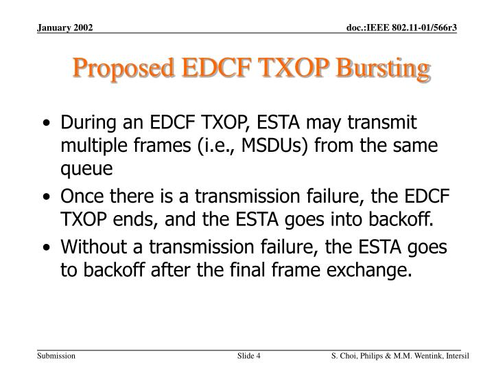 Proposed EDCF TXOP Bursting