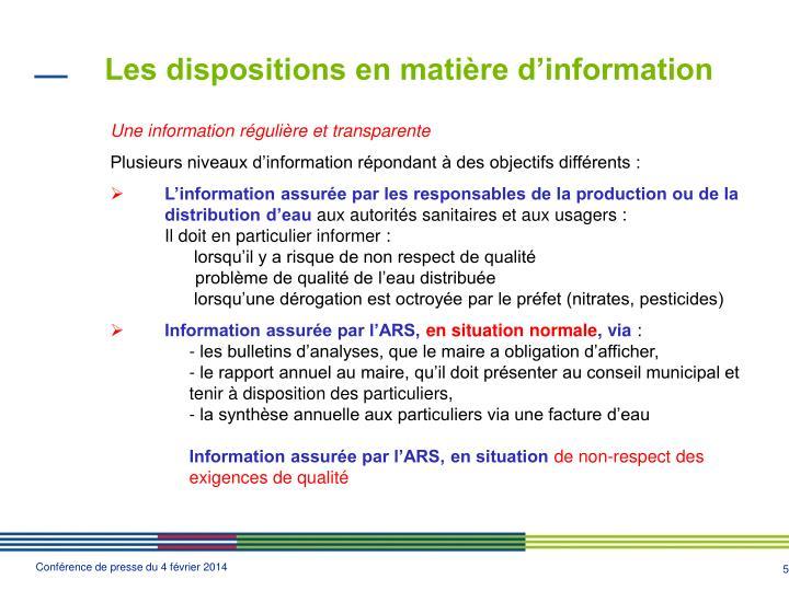 Les dispositions en matière d'information