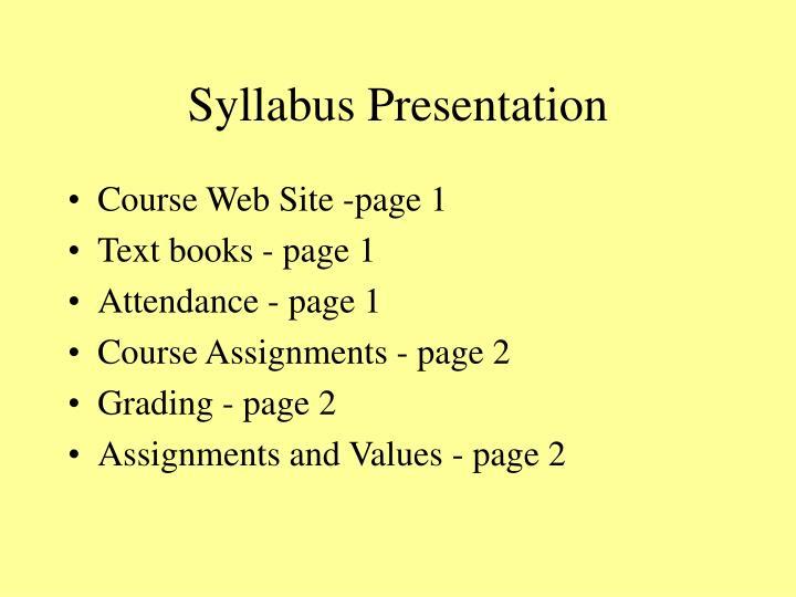 Syllabus presentation