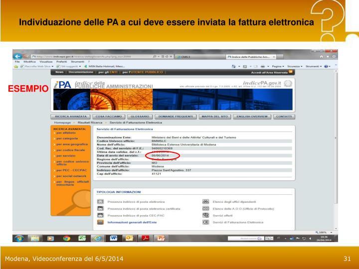 Individuazione delle PA a cui deve essere inviata la fattura elettronica