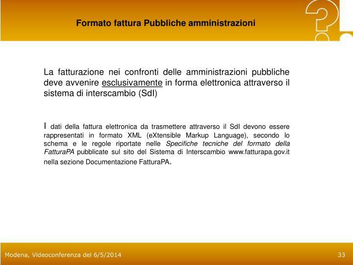 Formato fattura Pubbliche amministrazioni