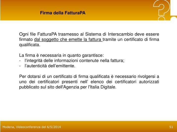 Firma della FatturaPA