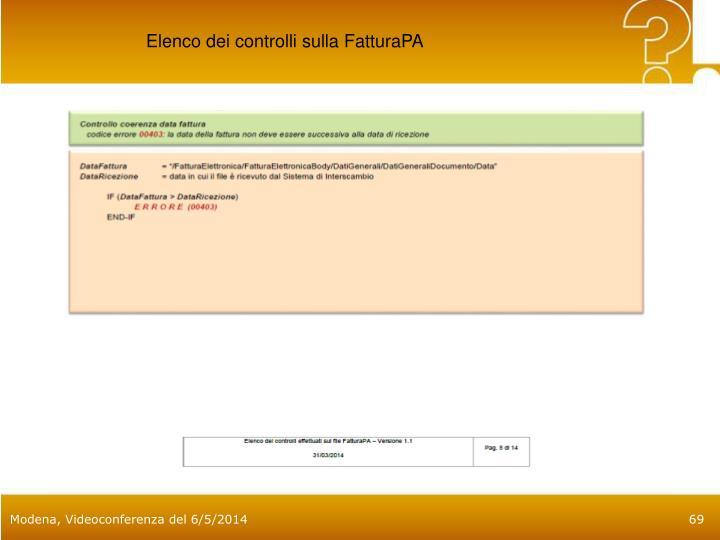 Elenco dei controlli sulla FatturaPA