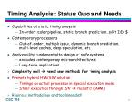 timing analysis status quo and needs