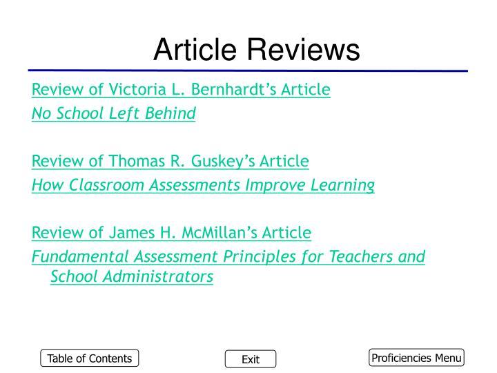Article Reviews
