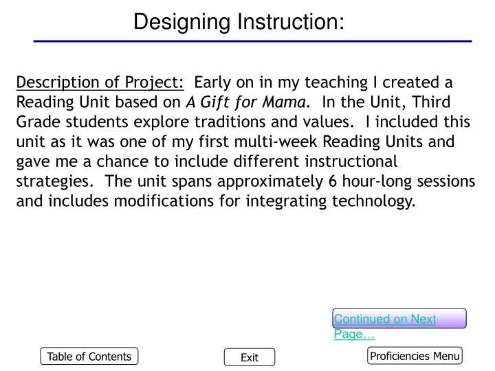 Designing Instruction:
