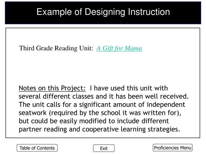 Example of Designing Instruction