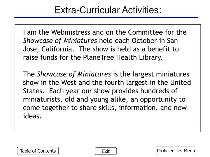 Extra-Curricular Activities: