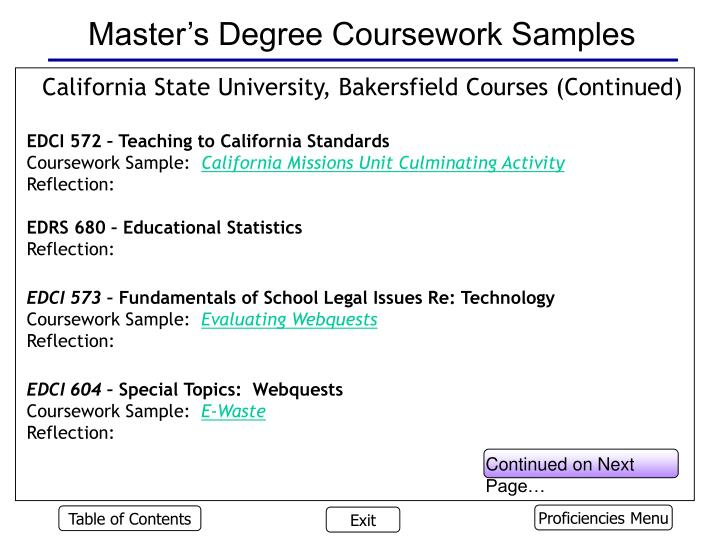 Master's Degree Coursework Samples