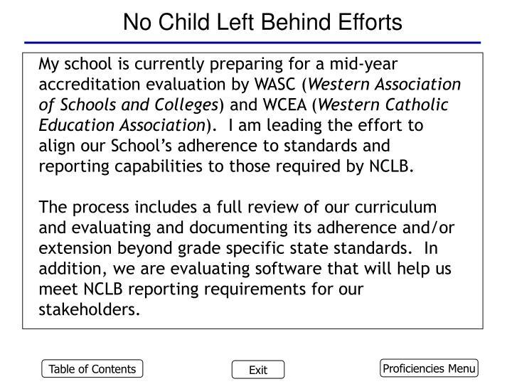 No Child Left Behind Efforts