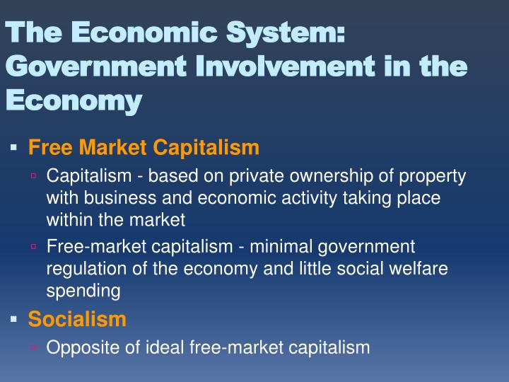 The Economic System: Government Involvement in the Economy