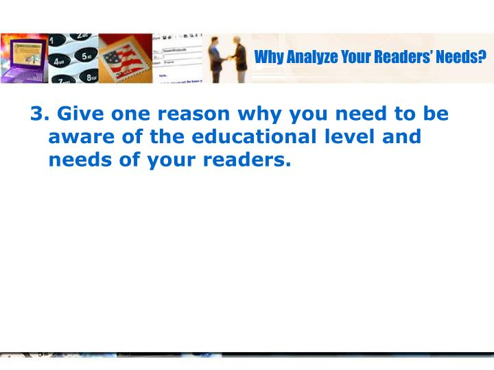 Why Analyze Your Readers' Needs?