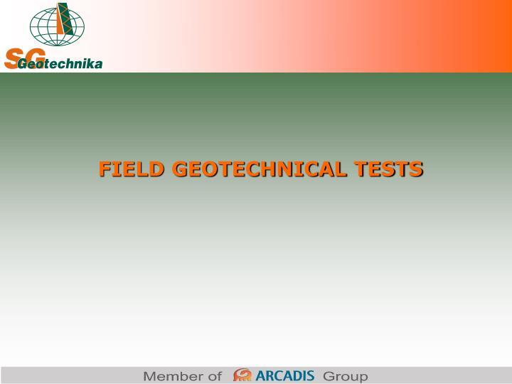 field geotechnical tests n.
