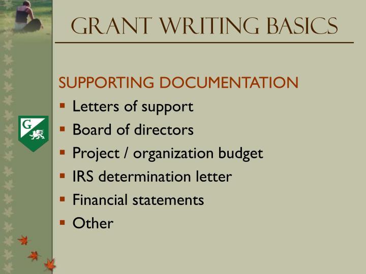Grant Writing Basics
