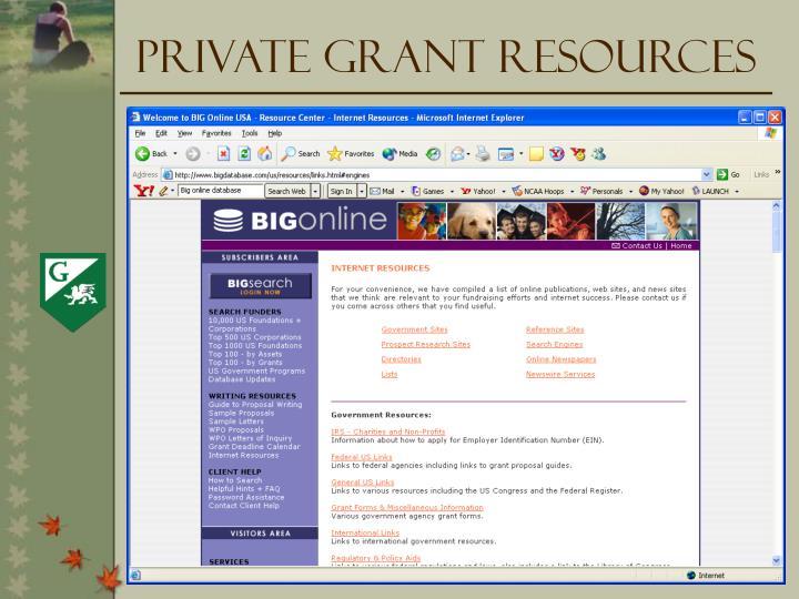 Private Grant Resources