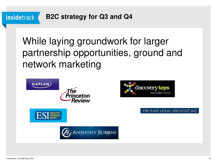 B2C strategy for Q3 and Q4