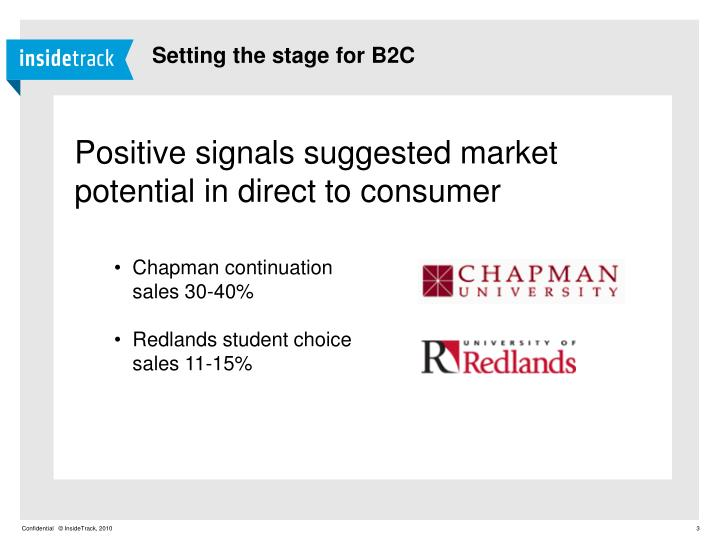 Setting the stage for B2C