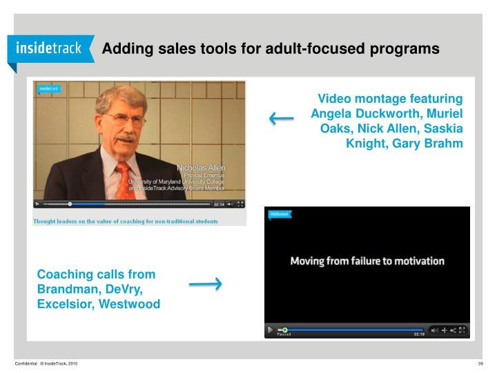 Adding sales tools for adult-focused programs