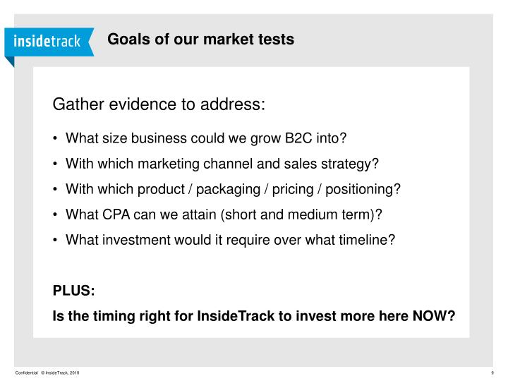 Goals of our market tests