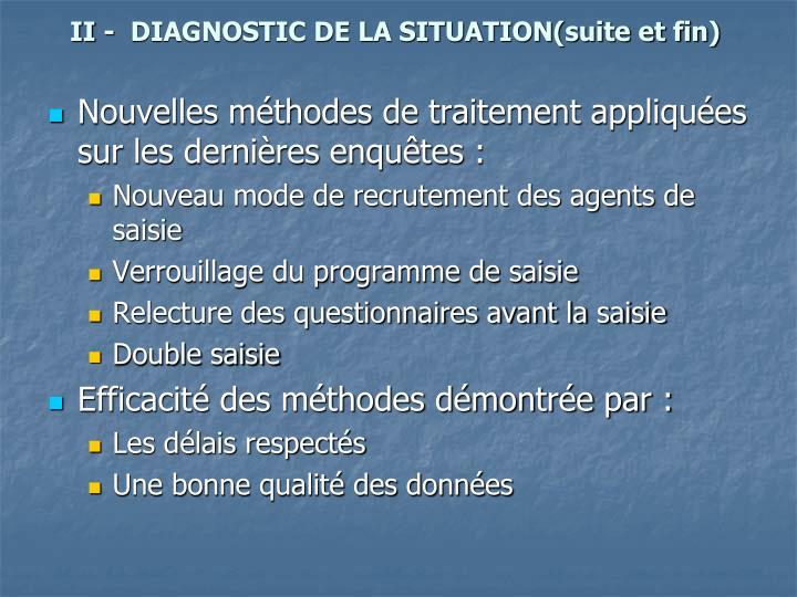 II -  DIAGNOSTIC DE LA SITUATION(suite et fin)