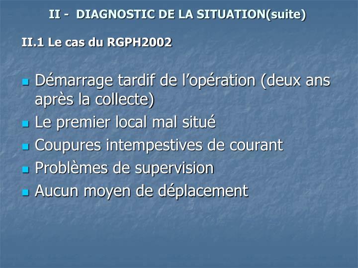 II -  DIAGNOSTIC DE LA SITUATION(suite)