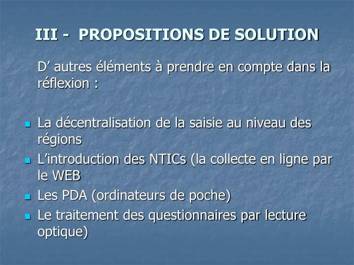 III -  PROPOSITIONS DE SOLUTION