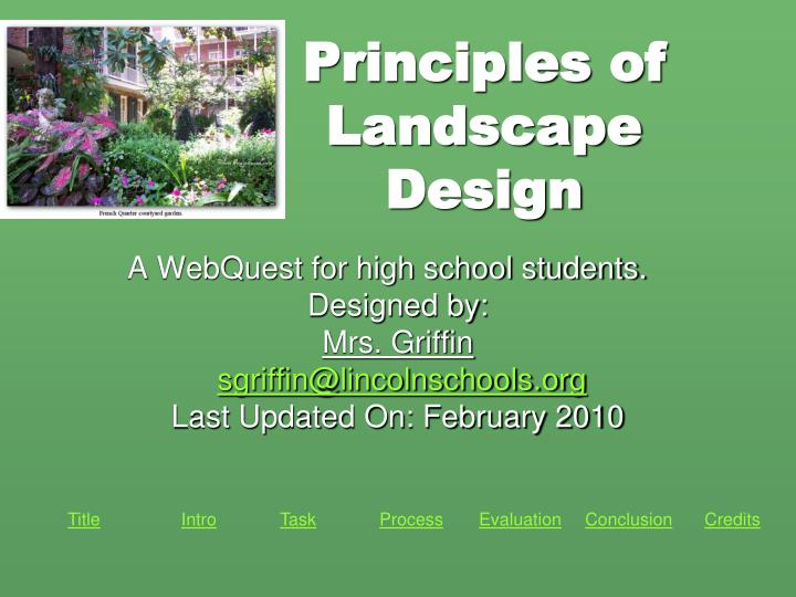 Ppt Principles Of Landscape Design Powerpoint Presentation Free