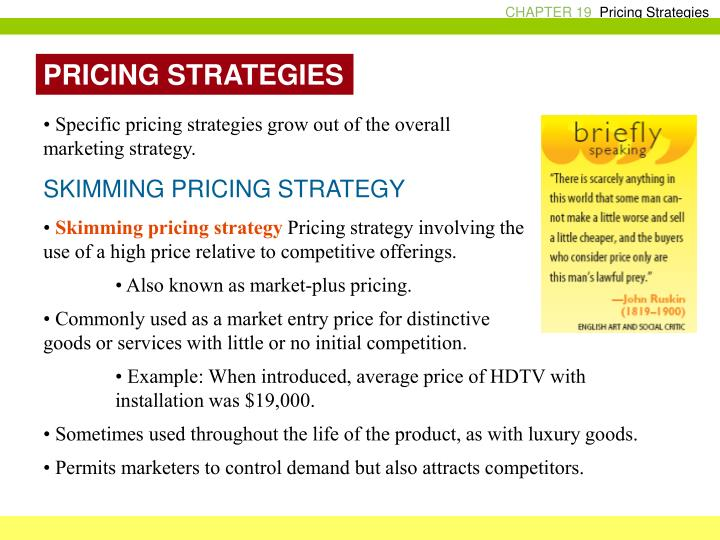 market structures and pricing strategies A pricing structure or strategy is a consistent, uniform, planned approach to pricing of products and services to achieve business and marketing goals.