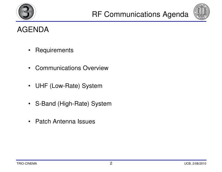 Rf communications agenda