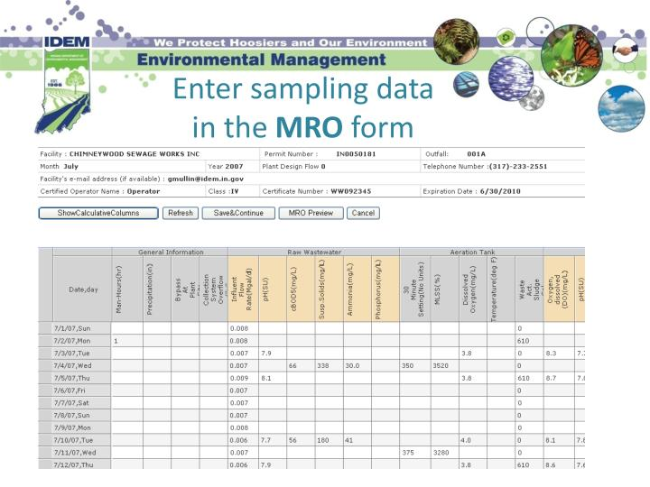 Enter sampling data