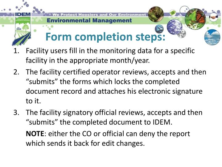 Form completion steps: