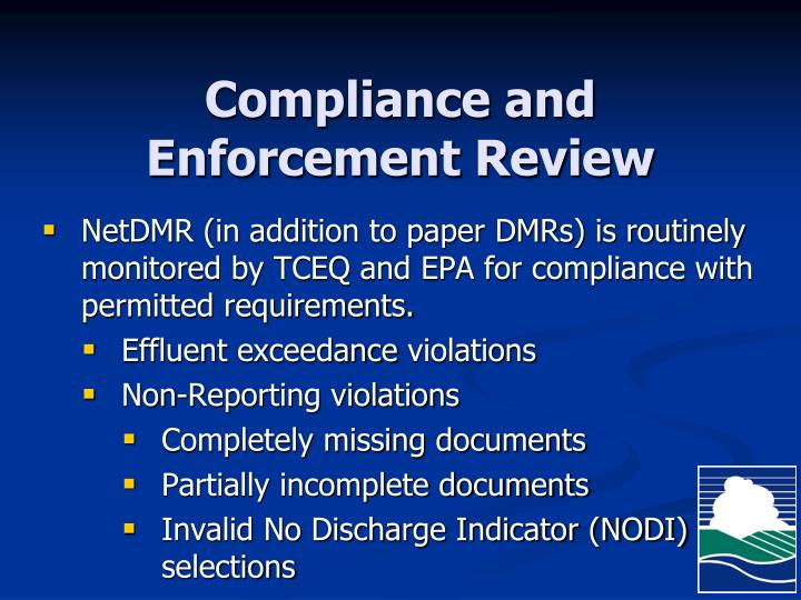 Compliance and Enforcement Review
