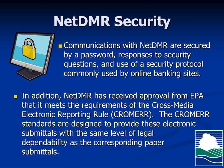 NetDMR Security
