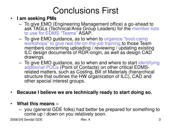 Conclusions first