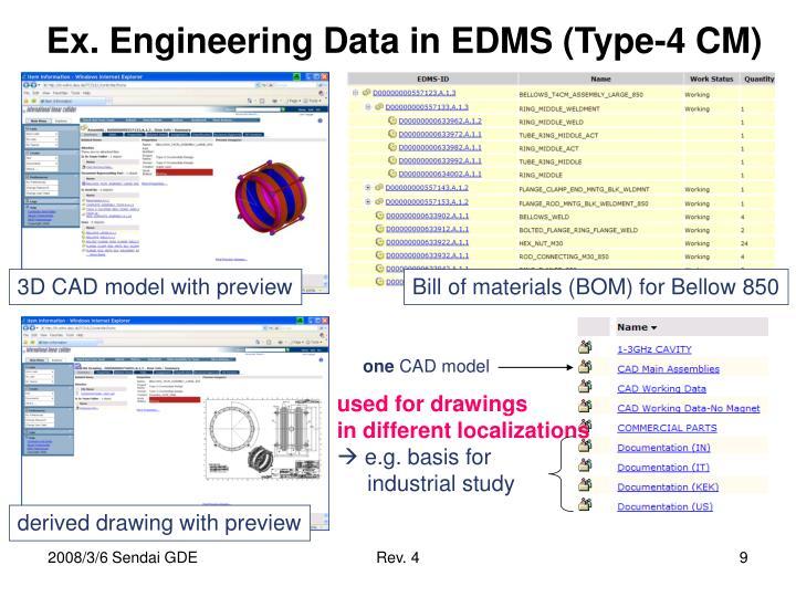 Ex. Engineering Data in EDMS (Type-4 CM)