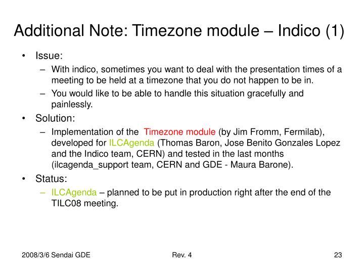 Additional Note: Timezone module – Indico (1)