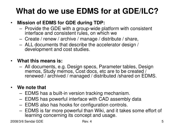 What do we use EDMS for at GDE/ILC?