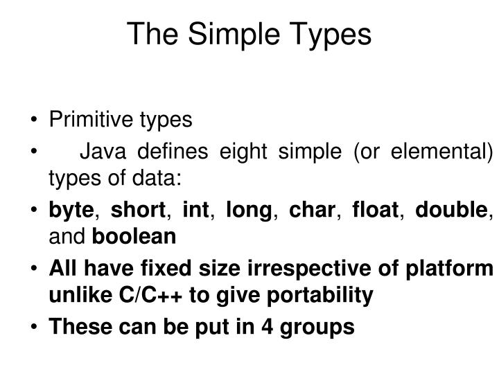 The simple types