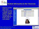 student information in the classroom