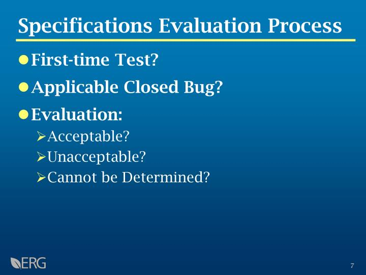 Specifications Evaluation Process