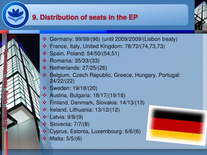 9. Distribution of seats in the EP