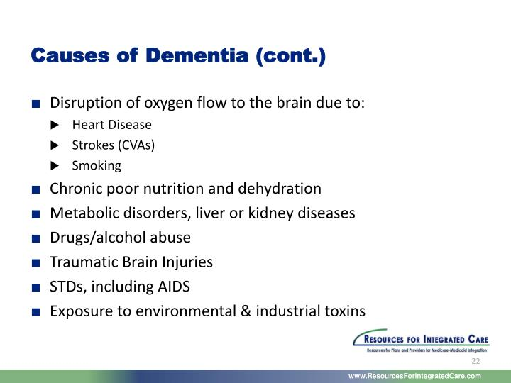 Causes of Dementia (cont.)